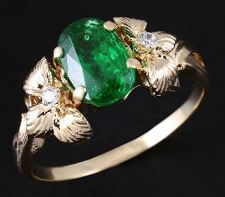 Кольцо с цаворитом и бриллиантами