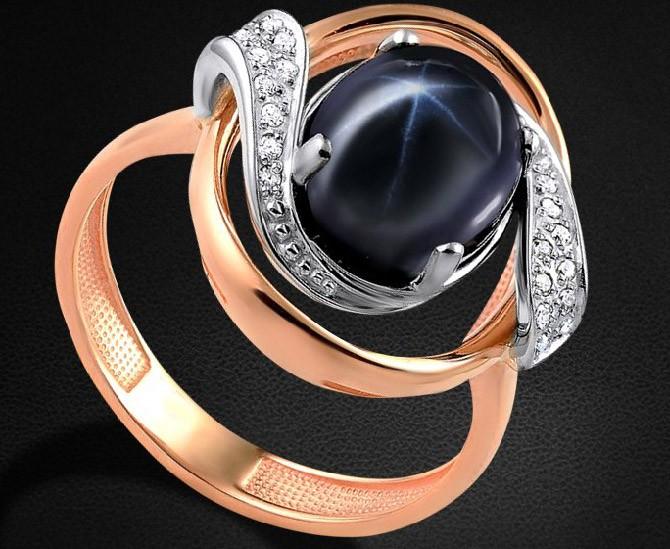 кольцо со звездчатым камнем
